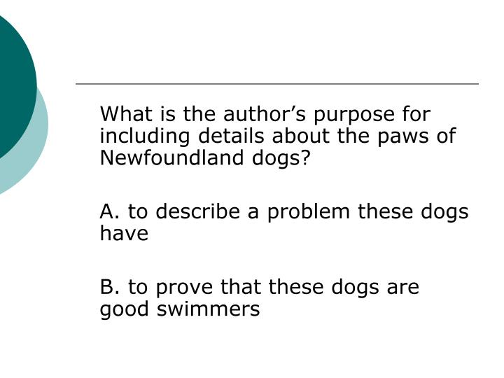 What is the author's purpose for including details about the paws of Newfoundland dogs?
