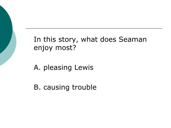 In this story, what does Seaman enjoy most?