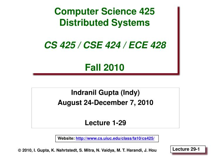 PPT - Computer Science 425 Distributed Systems CS 425 / CSE