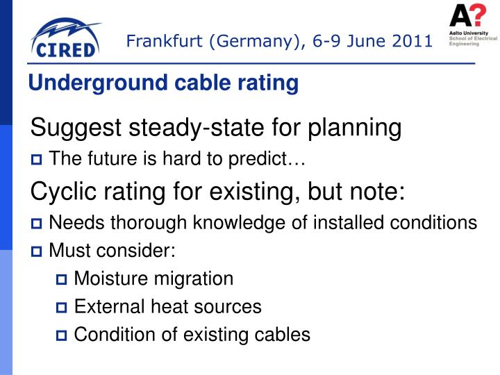 Underground cable rating