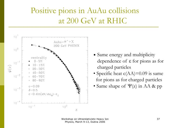 Positive pions in AuAu collisions