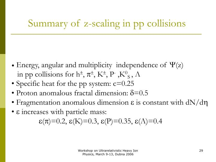 Summary of z-scaling in pp collisions