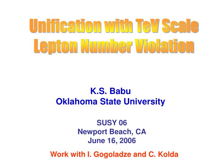 Unification with TeV Scale