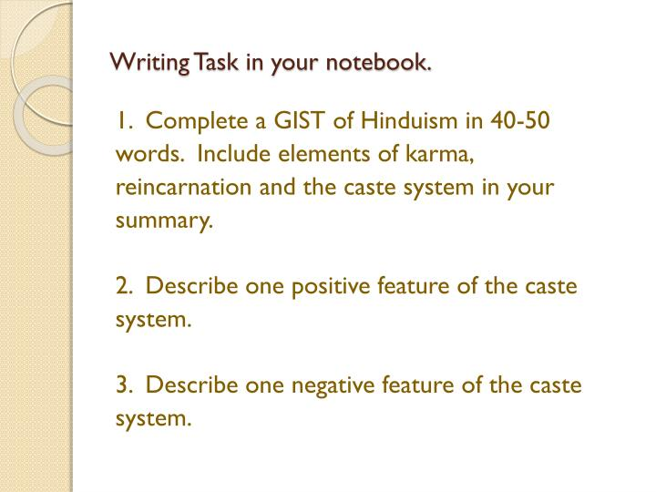 Writing Task in your notebook.