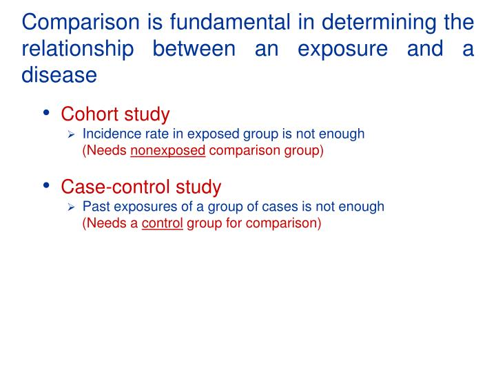 Comparison is fundamental in determining the relationship between an exposure and a disease