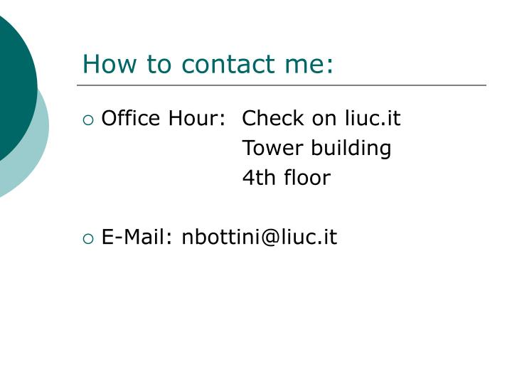 How to contact me
