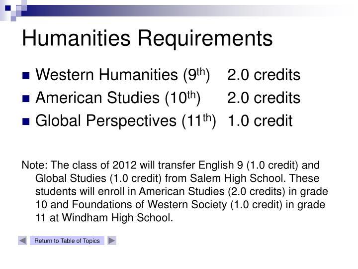 Humanities Requirements