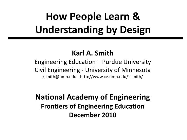 How people learn understanding by design