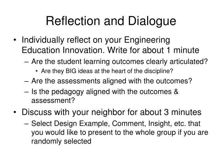 Reflection and Dialogue