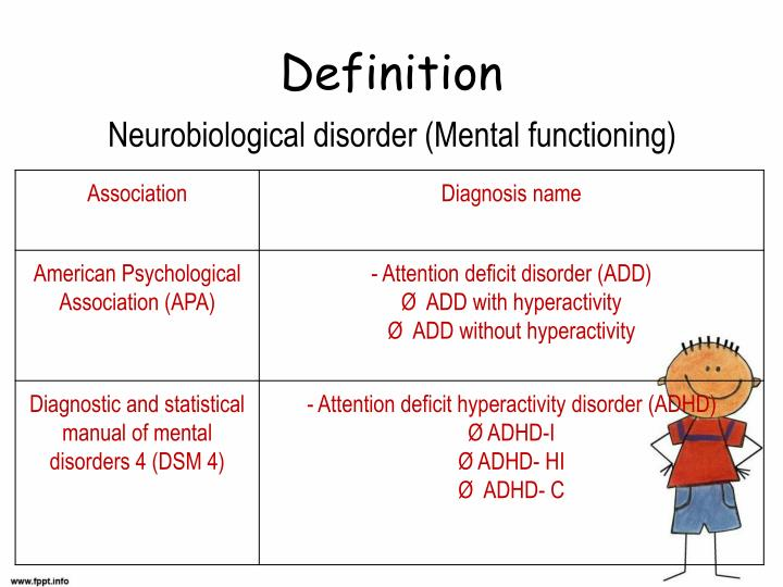 definition of three types of adhd Dsm-5 criteria for adhd  based on the types of symptoms, there are three presentations of adhd:  to read how the definition changed after dsm-5.