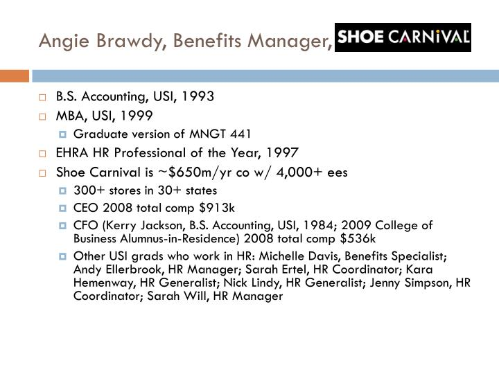 Angie brawdy benefits manager shoe carnival