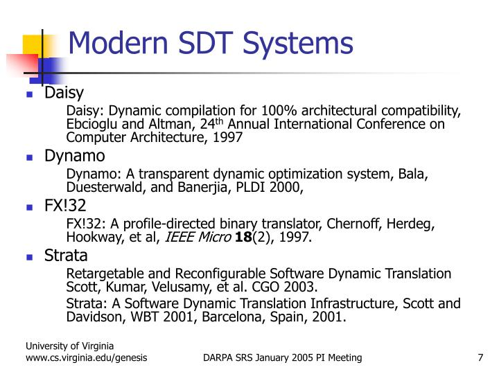 Modern SDT Systems