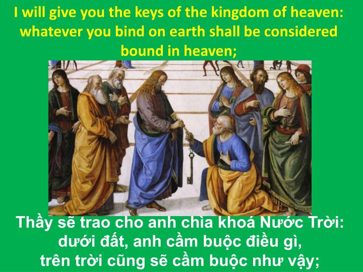 I will give you the keys of the kingdom of heaven: whatever you bind on earth shall be considered bound in heaven;