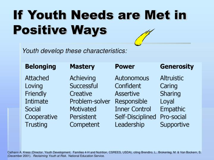 If Youth Needs are Met in Positive Ways