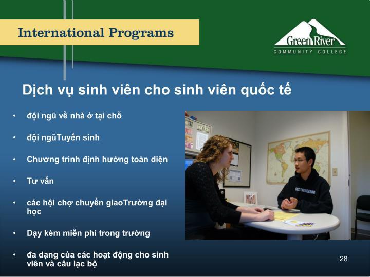 Dịch vụ sinh viên cho sinh viên quốc tế