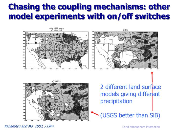 Chasing the coupling mechanisms: other model experiments with on/off switches