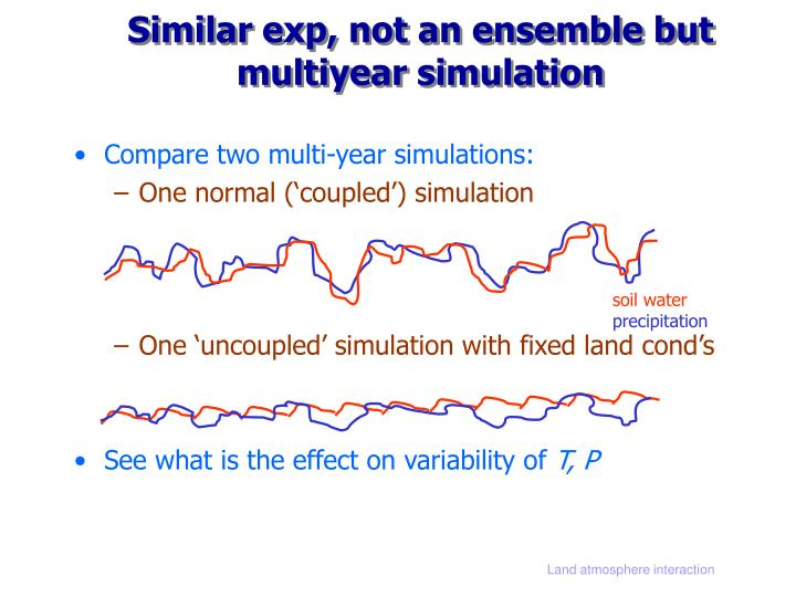 Similar exp, not an ensemble but multiyear simulation