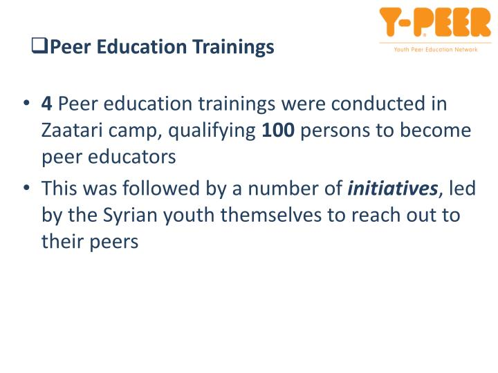 Peer Education Trainings