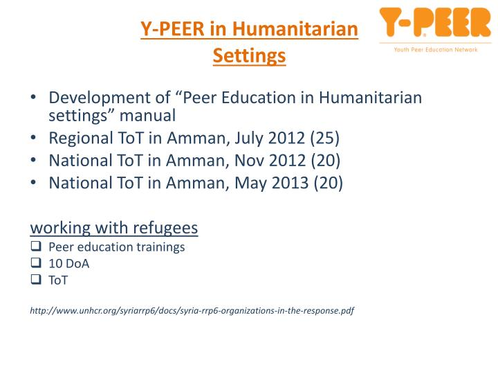 Y-PEER in Humanitarian