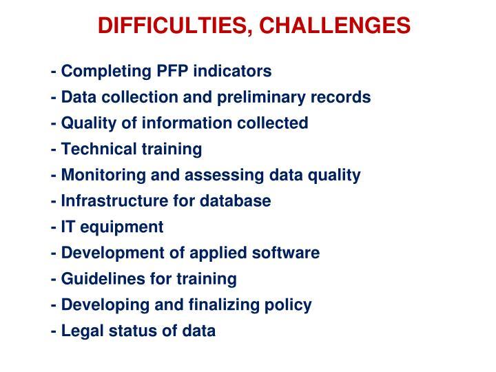 - Completing PFP indicators