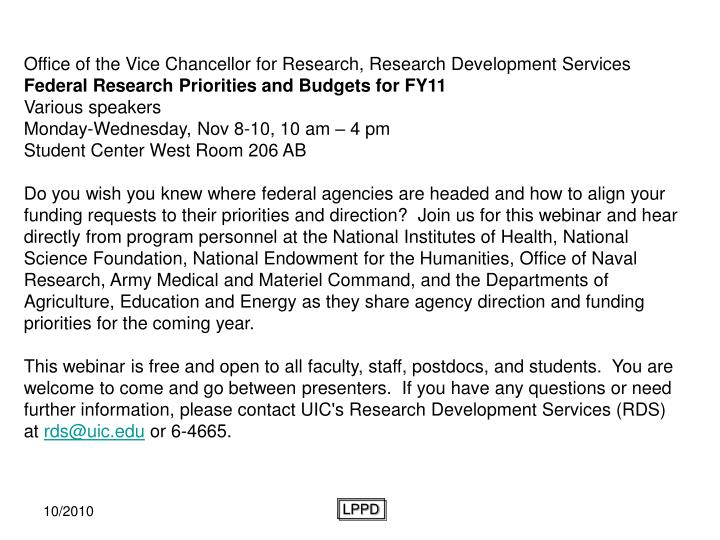 Office of the Vice Chancellor for Research, Research Development Services