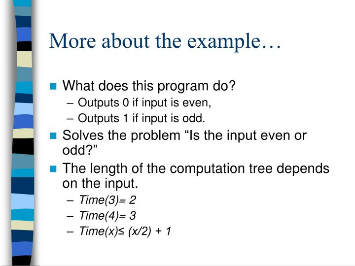 More about the example…
