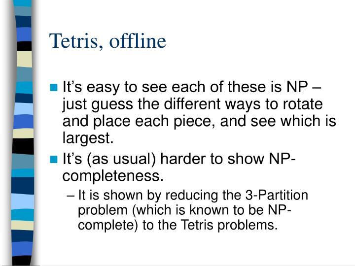 Tetris, offline