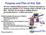 purpose and plan of this talk