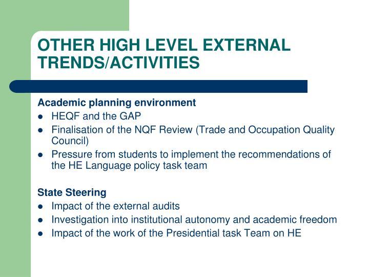 OTHER HIGH LEVEL EXTERNAL TRENDS/ACTIVITIES