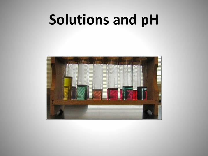 solutions and ph n.