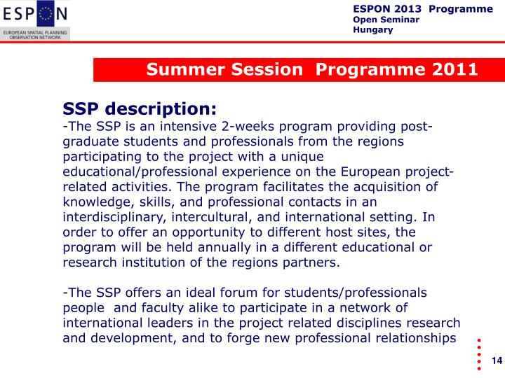 Summer Session  Programme 2011