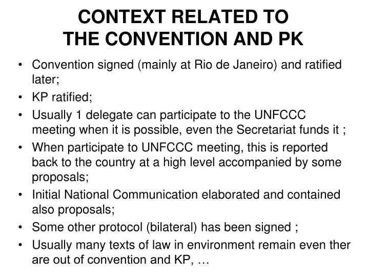 Context related to the convention and pk