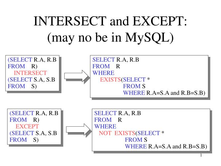 PPT - INTERSECT and EXCEPT: (may no be in MySQL) PowerPoint