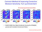 common method of improving convective moisture sensitivity turn up entrainment
