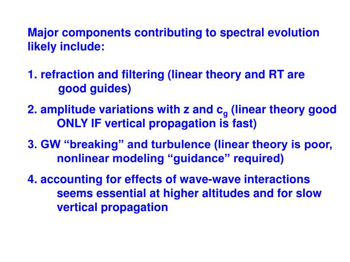 Major components contributing to spectral evolution