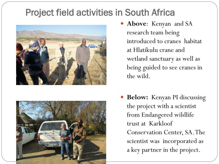 Project field activities in South Africa