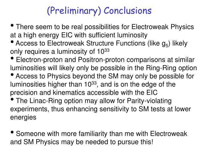 (Preliminary) Conclusions