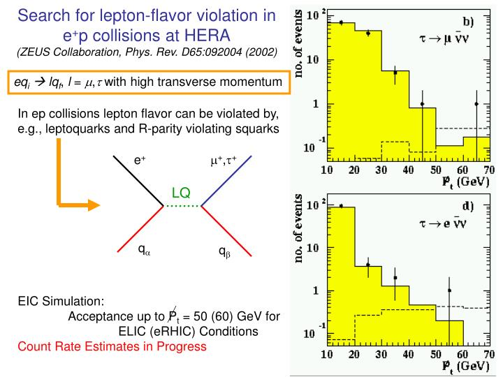 Search for lepton-flavor violation in e