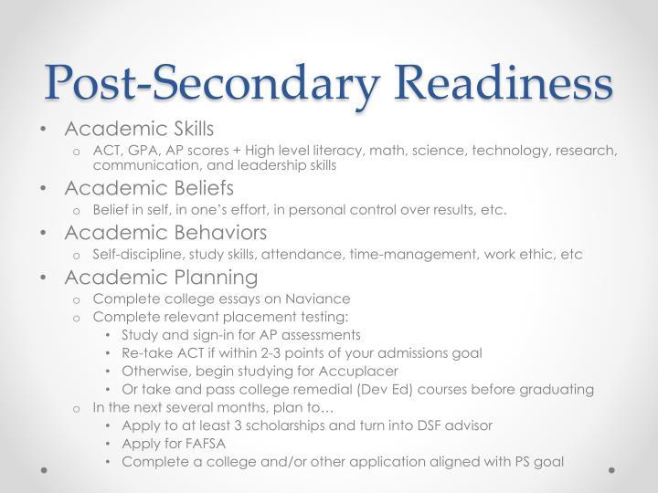 Post-Secondary Readiness