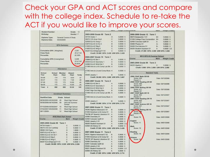 Check your GPA and ACT scores and compare with the college index. Schedule to re-take the ACT if you would like to improve your scores.