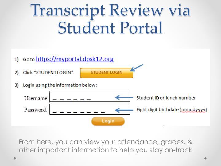 Transcript review via student portal