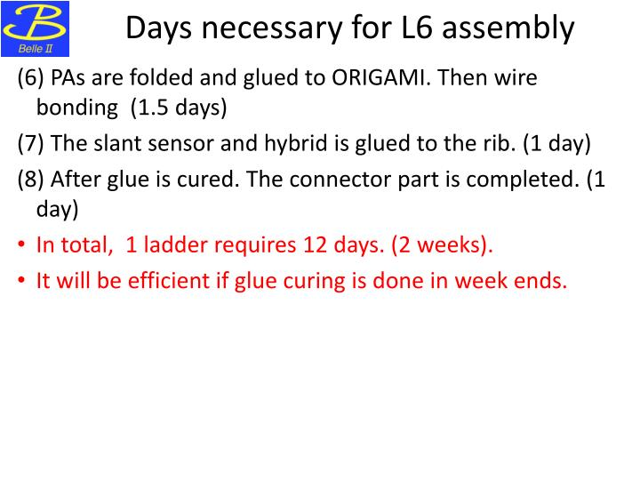 Days necessary for L6 assembly