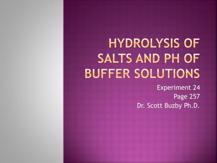 hydrolysis of salts and ph of buffer solutions n.