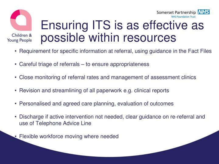 Ensuring ITS is as effective as possible within resources