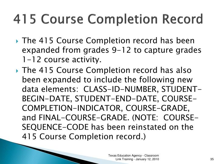 415 Course Completion Record