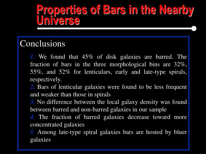 Properties of Bars in the Nearby Universe
