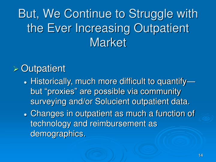 But, We Continue to Struggle with the Ever Increasing Outpatient Market