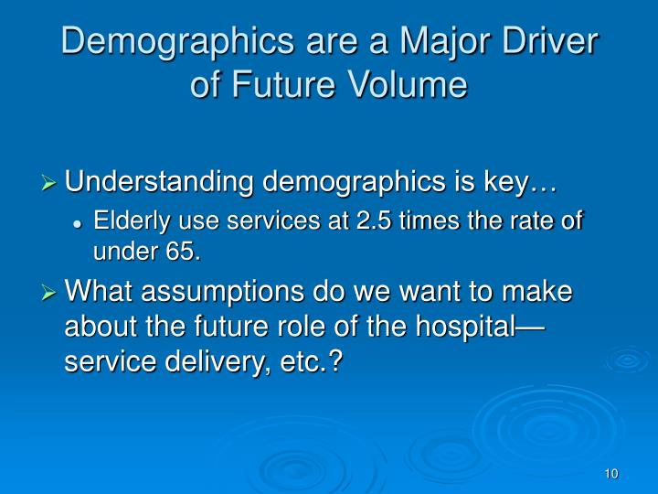 Demographics are a Major Driver of Future Volume
