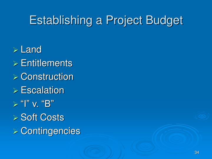 Establishing a Project Budget