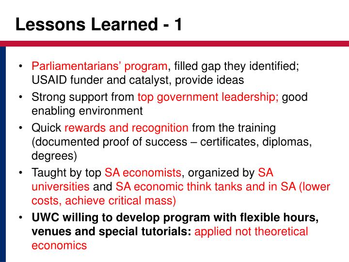 Lessons Learned - 1